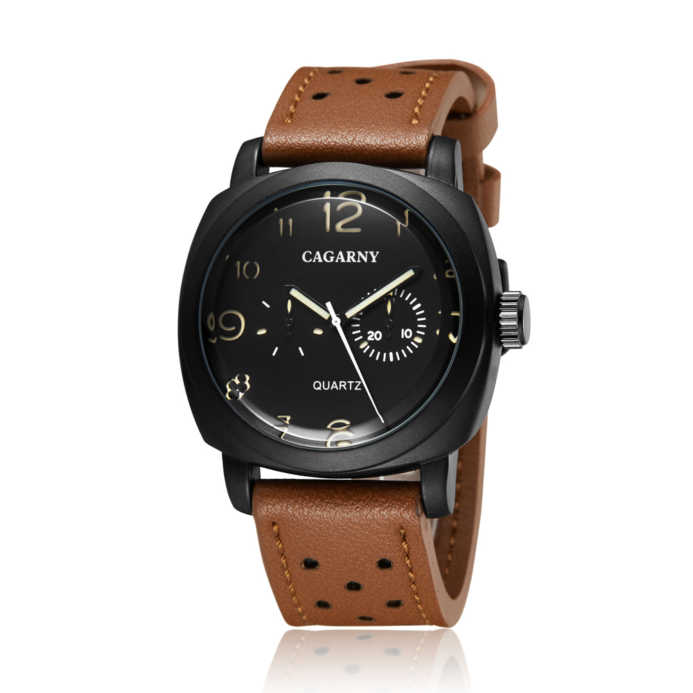 Cagarny Sports Luxury Clock Hour Quartz Watch Black Dial Men's Brown Leather Wristwatch Military Relogio Masculino Orologi Uomo