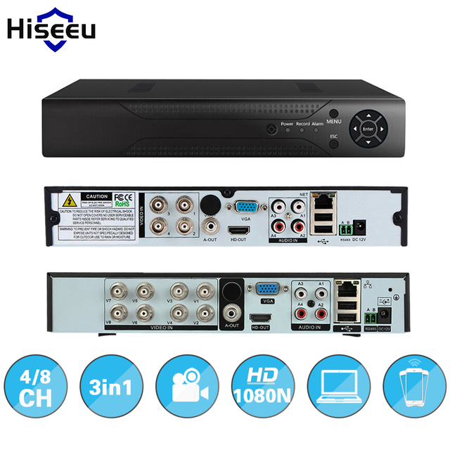 Hiseeu 4CH 960 P 8-КАНАЛЬНЫЙ 1080 P 3 в 1 DVR видео рекордер для AHD камеры аналоговые камеры IP P2P камеры системы видеонаблюдения DVR H.264 VGA HDMI