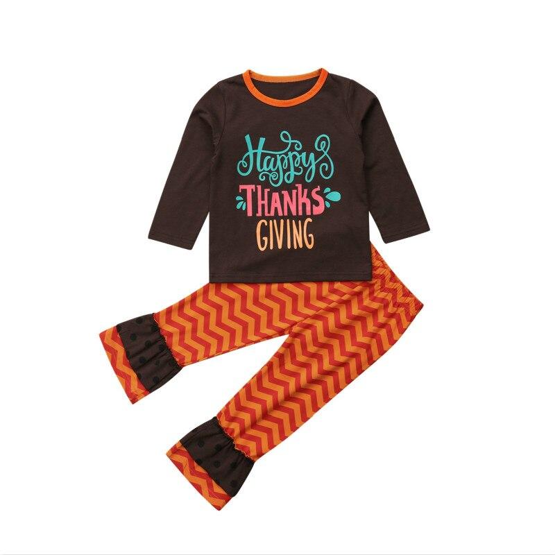 353b905b2 Acción de Gracias niño niños bebé niña ropa camiseta Top + Pantalones 2  piezas conjunto de ...
