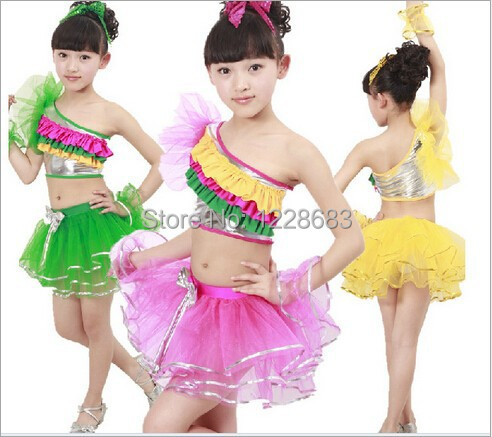 Hot Sale New Green Pink Yellow Rainbow Vestidos Unequal Girl Dance Costumes Performance Latin Dance Dress Children