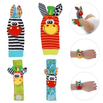 High quality 2/4Pcs Baby Rattle Toy wrist Socks Animal Cute Cartoon Baby Socks with retail package 20%Off 1