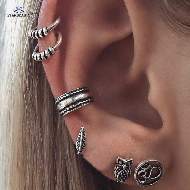 7pcs Lot Boho Style Tibetan Silver Top Tragus Piercings Hoop Helix Cartilage Daith Earring Studs Piercing Jewelry In Body From