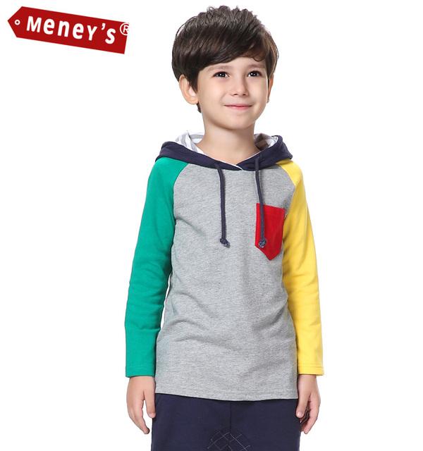 T-shirt do esporte para Meninos Primavera Hoodies Crianças Camisolas Bebê Patch Bolso No Peito Colorido Listras Manga Raglan Camisetas Crianças