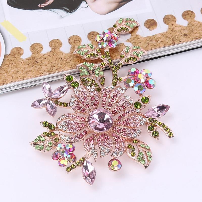 Big Elegant Pink Crystal Flower Brooch Rhinestone Pin Romantic Wedding Bride Bridesmaid Large Brooches for Woman Jewelry