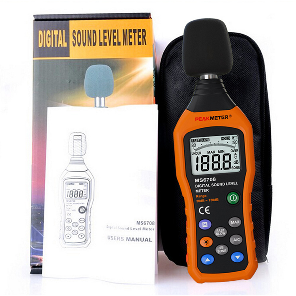 MS6708 LCD Digital Audio Decibel Sound Noise Level Meter dB Meter Measuring Logger Tester 30 dB to 130 dB Sound Level Meter gm1357 with carry box 30 130db digital sound level meter noise tester in decibels lcd a c fast slow db screen