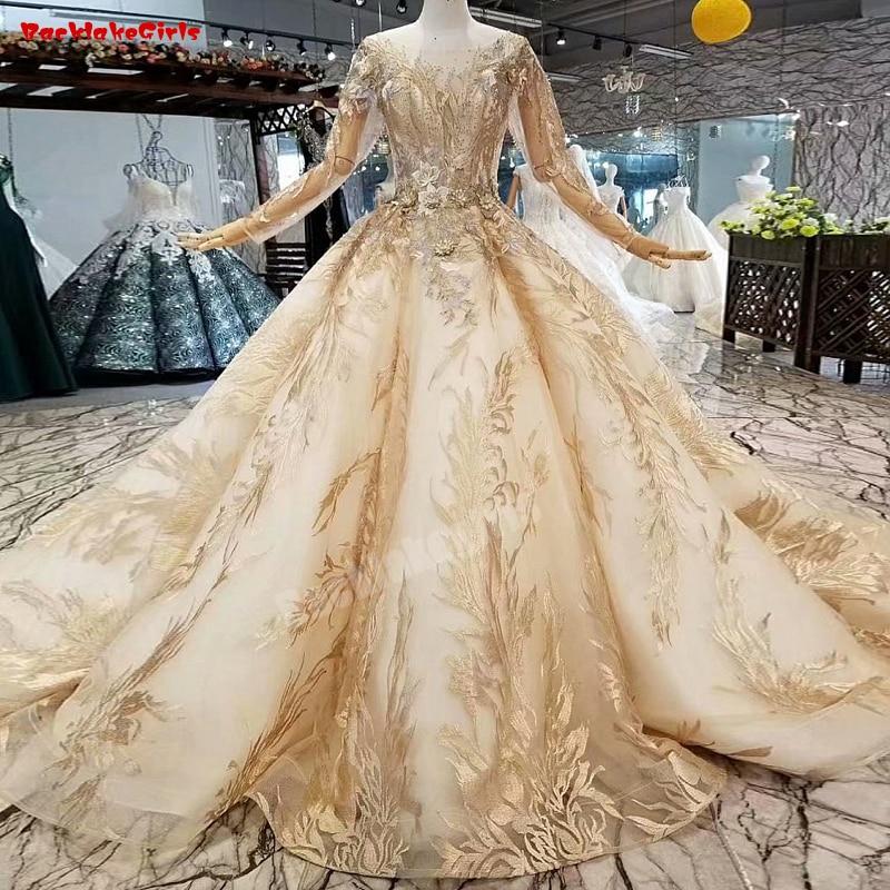Weddings & Events Begeistert 486321 Neueste Vintage Luxus High Neck Brautkleider 2018 High-end-pailletten Quaste Langarm Brautkleider Real Photo