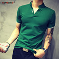 GustOmerD 2017 Summer Stand Collar Patchwork Cotton Polo Shirt Men Slim Fit Short Sleeve Tops Tees Casual Mens Polo Shirts