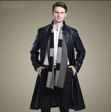 Black autumn stand collar casual leather coats men slim single-breasted long coat mens leather trench coats fashion M - 3XL stand collar half breasted mens tee