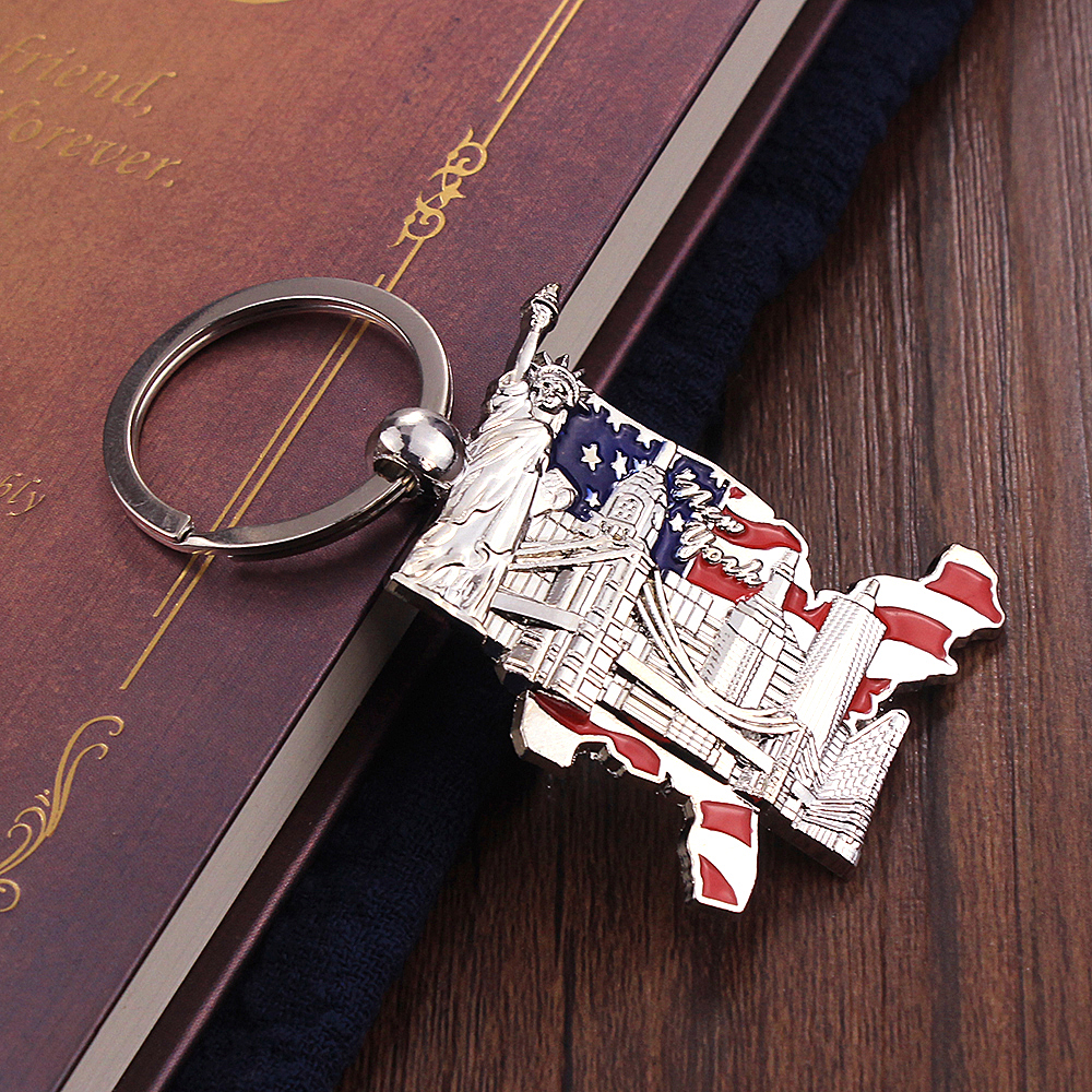 Vicney New Arrival New York Travel Souvenir Key Chain Zinc Alloy Statue Of Liberty With Building Keychain Gifts For Boy Friend
