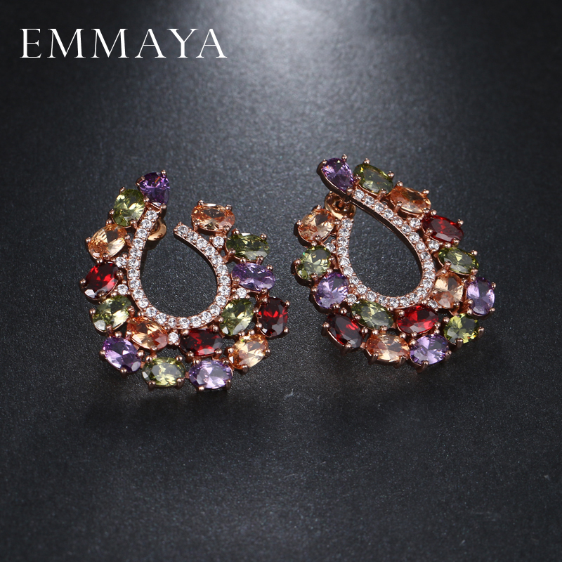 EMMAYA Brand New Multi Color Cz Stud Earring High Quality Fashion Earrings for Women Cry ...