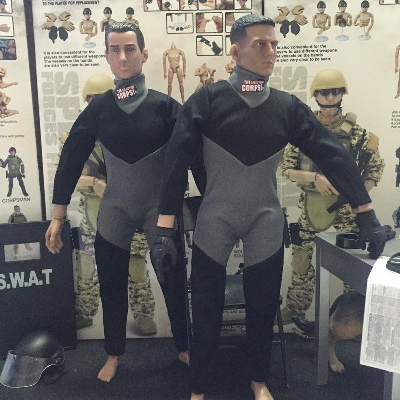 """1//6 Scale Black Grey Wetsuit Diving Swimming suit for 12/"""" Action Figure Toys"""