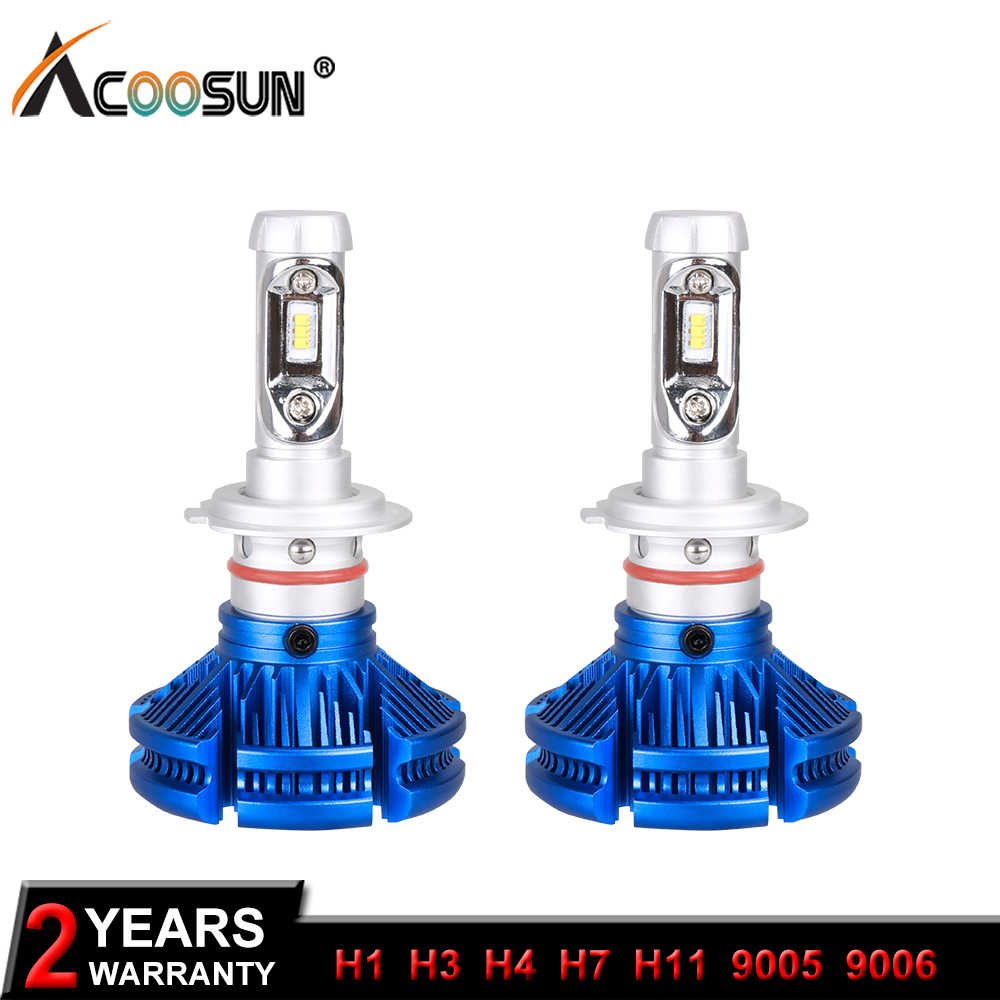 AcooSun H7 Led Car Bulb H1 H11 Fog Lamp Fanless Bulbs 6500K DC12V H4 Led ZES Chips 50W/set 9005 LED Auto-styling Headlights 9006
