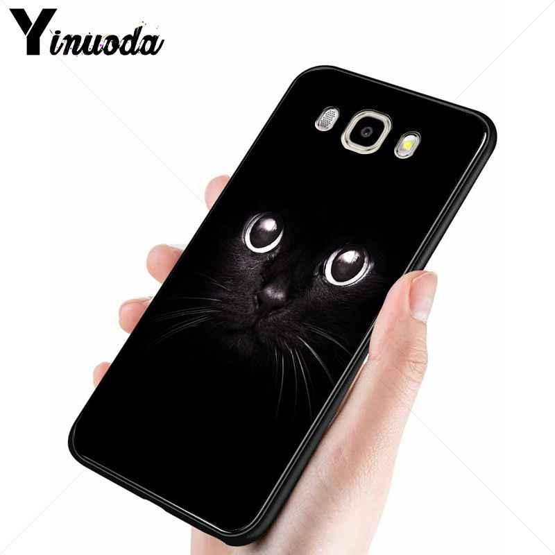 Yinuoda สีดำแมว Staring ตาอุปกรณ์เสริมโทรศัพท์กรณีสำหรับ Samsung Galaxy j7 2017 prime j8 j2 prime j4plus j6plus 2018 กรณี