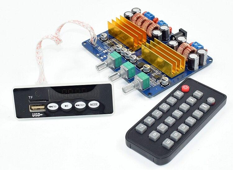 L'assemblée TPA3116 2.1 Bluetooth Amplificateur de Puissance Conseil TF Carte USB FM AUX Subwoofer Conseil 100 W + 50 W + 50 W