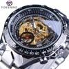 Forsining Golden Racing Sport Wristwatch Silver Stainless Steel Skeleton Open Work Design Men Automatic Watch Top