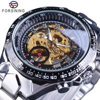 Forsining Golden Racing Sport Wristwatch Silver Stainless Steel Skeleton Open Work Design Men Automatic Watch Top