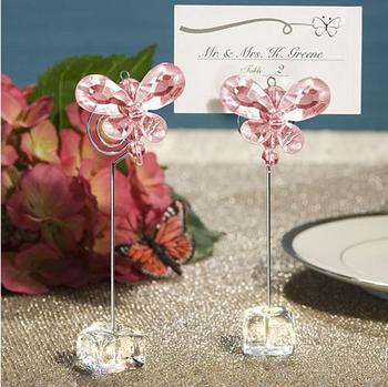 Factory direct 50PCS / LOT wedding like delicate pink (white) crystal butterfly place cardholder