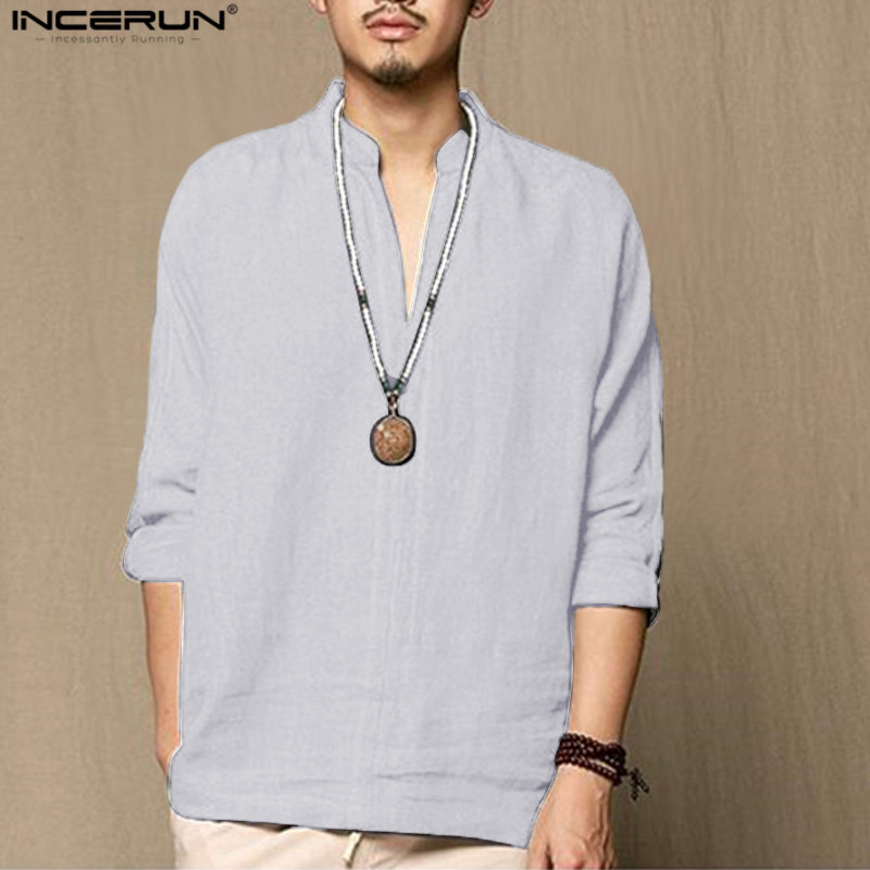 INCERUN Chinese Style Linen Shirt Men Casual Breathable Soft Long Sleeve Cotton Shirt Vintage Retro chemise Hombre 2018 Spring