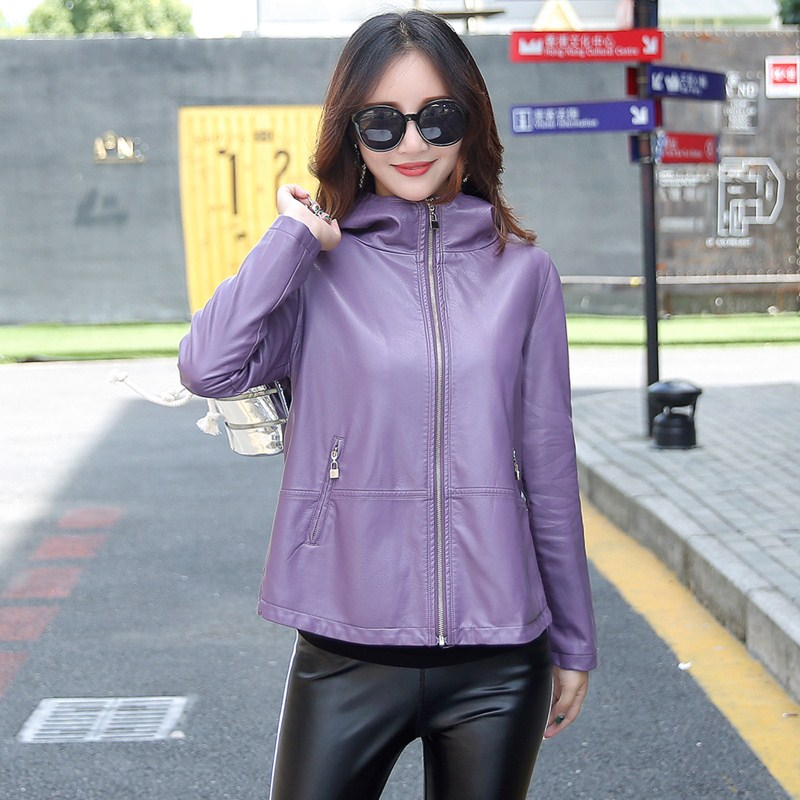 leather   jacket women short design slim Baseball uniform Hoodies vintage casual   leather   jackets coats K6723