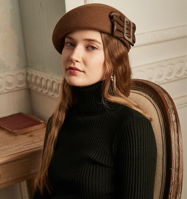100 Wool Felt Beret Hat Women Vintage Elegant Lady Artist Flat Cap Bow Boina Feminino Hats For Girls Berets in Women 39 s Berets from Apparel Accessories