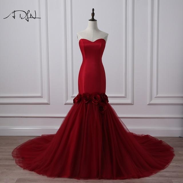 ADLN Mermaid Burgundy Wedding Dresses Photography Elegant Sweetheart ...