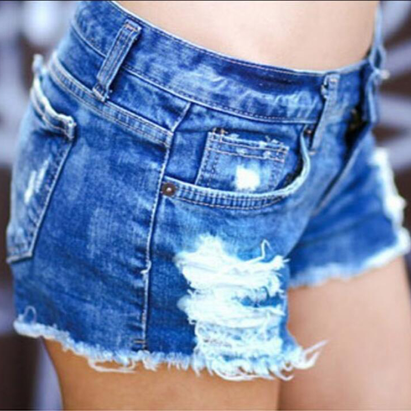 2018 New Spring And Summer Blue Snowflake Hole Denim Shorts