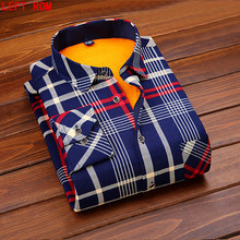 ФОТО 2017 autumn and winter new male long-sleeved cotton slim fit casual men's shirts men's cashmere warm shirt plus size l-4xl