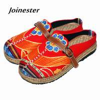 Ethnic Patchwork Canvas Flat Heeled Slippers Breathable Linen Bottom With Buckle Round Toe Flat With Casual