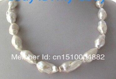 shitou 009 Unusual White Keshi Keishi Baroque Freshwater Pearl Necklace 14KGP