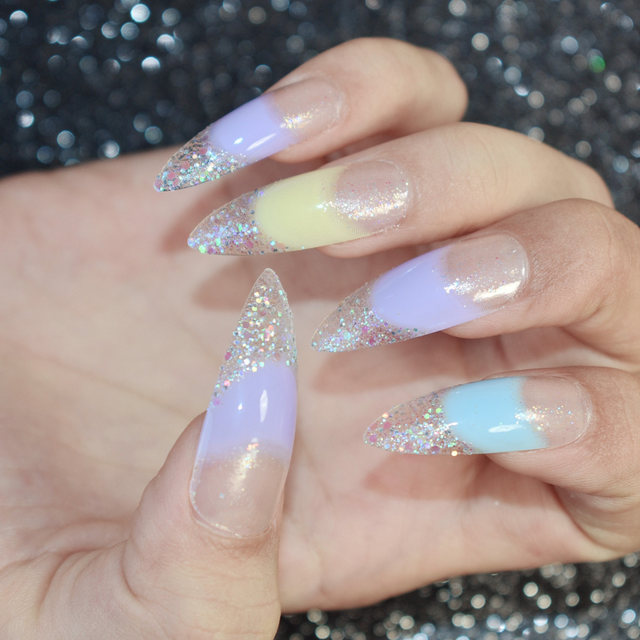Online Shop Extra Long Nail Art Tips Kit Colorful Sequins Decoration ...