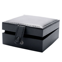Luxury Organizer Black Leather Square Pocket Watch Box Foam Pad Inside Watches Gift Boxes for Men Womens Watch Jewelry Storage