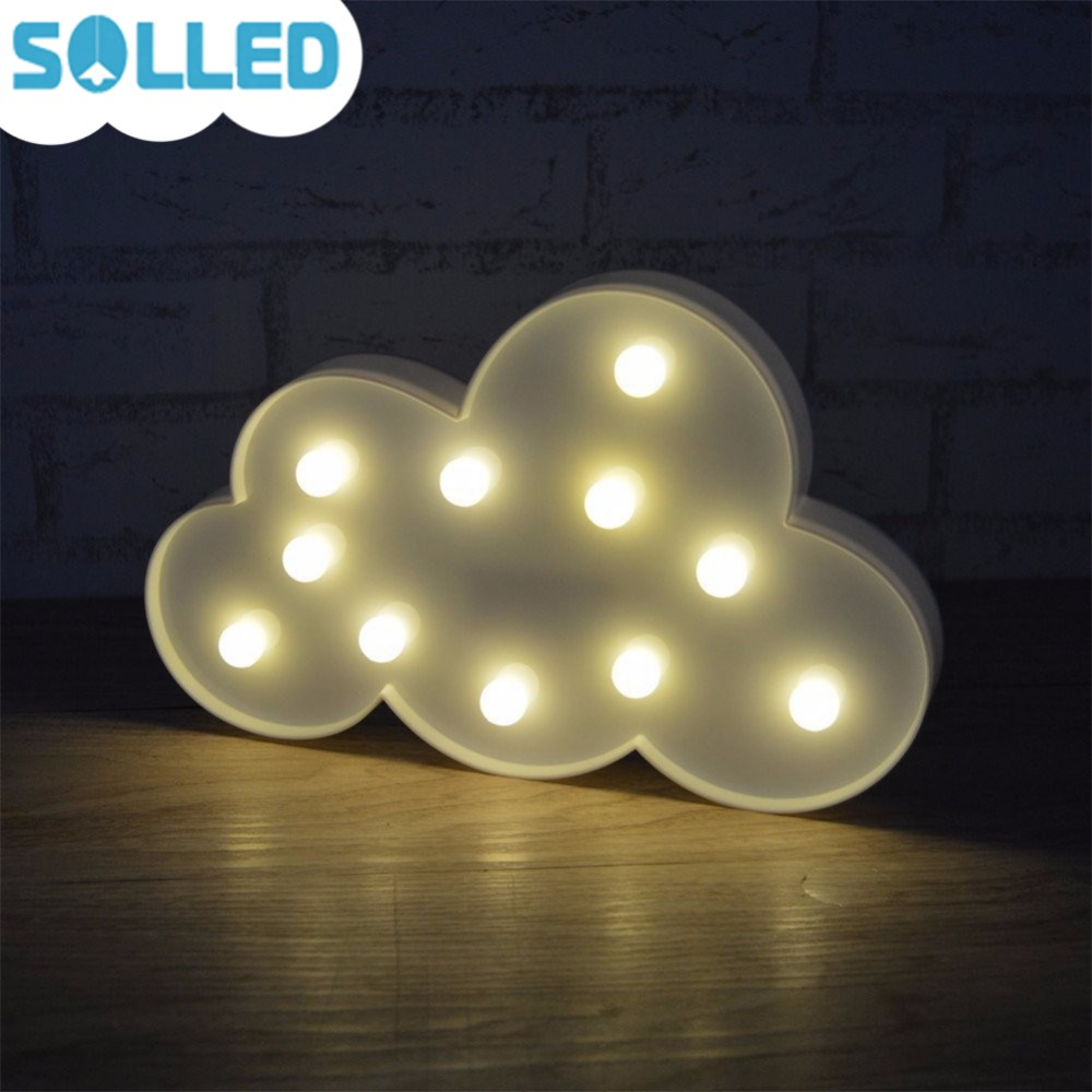 SOLLED 3D Marquee Cloud Night Light Battery Operated White Cloud Letter Lamp For Christmas Decoration Kids Gift
