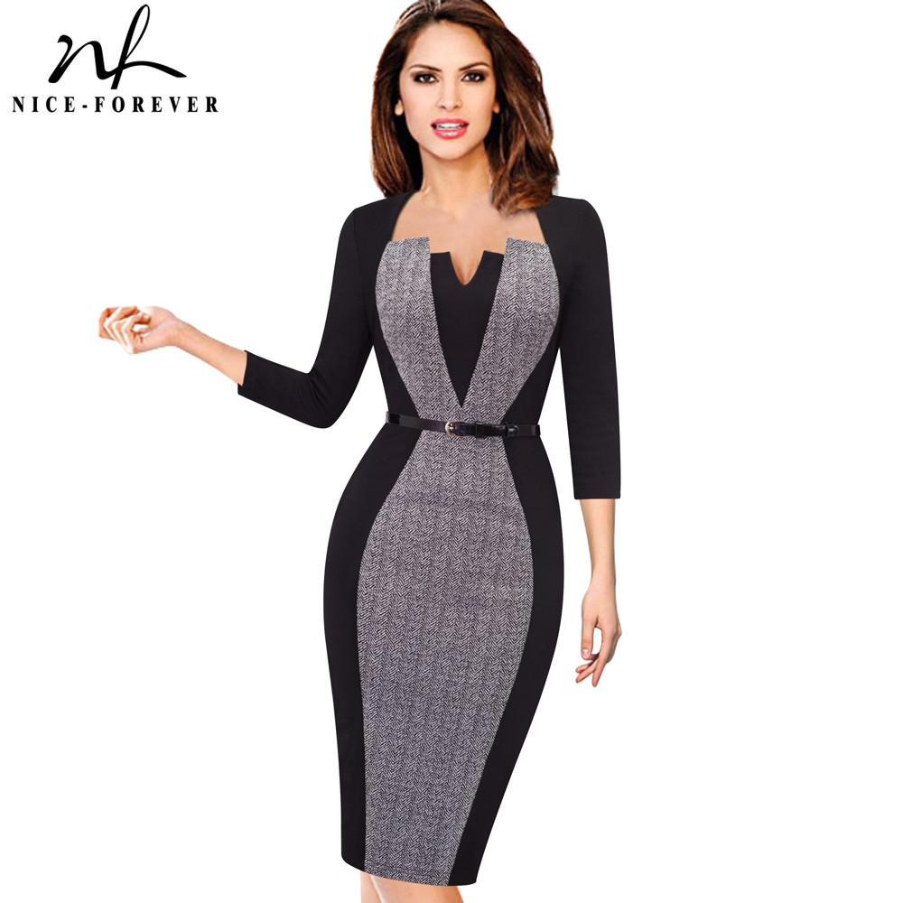 2abc331bada Detail Feedback Questions about Nice forever Women Elegant Optical Illusion Patchwork  Contrast Belted Vintage Slim Work Office Business Bodycon Dress B405 ...