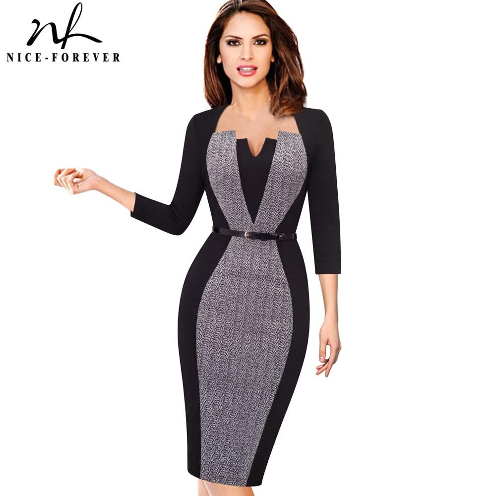 Nice-forever Women Elegant Optical Illusion Patchwork Contrast Belted Vintage Slim Work Office Business Bodycon Dress B405