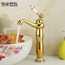 New arrival Gold faucet Fashion Brass Bathroom basin Faucet with ceramic handle torneira banheiro DONA4008A