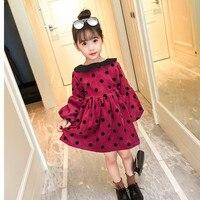 2018 New Spring Baby Girls Dress Long Sleeve Polka Dot Doll Collar Princess Dresses Girls Costume