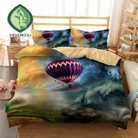 HELENGILI 3D Bedding Set Hot Air Balloon Print Duvet cover set lifelike bedclothes with pillowcase bed set home Textiles #3 12