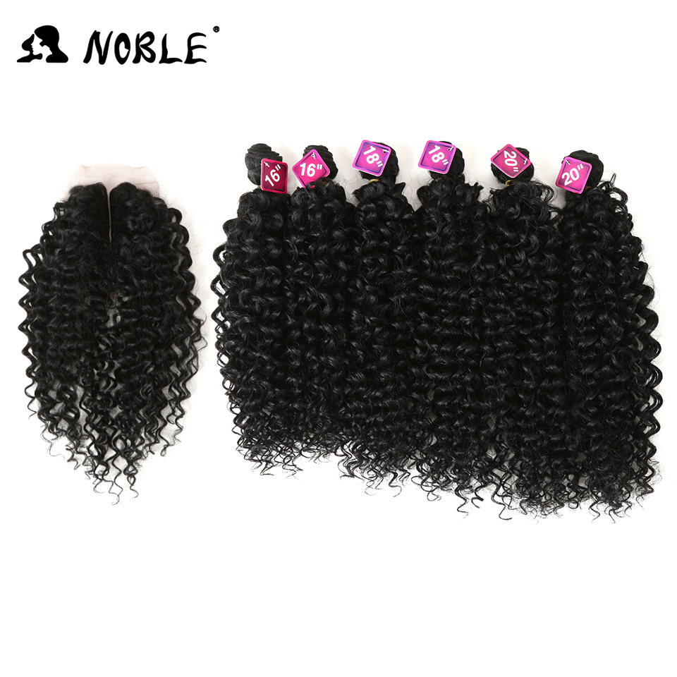 Noble Afro Kinky Hair-Bundles Closure Weave Synthetic-Hair Curly African-Lace Women 16-20inch