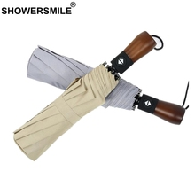 SHOWERSMILE Windproof Automatic Umbrella Men Solid Gray Folding Business Pongee For Wood Handle Brand Brolly