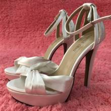Women Stiletto High Heel Sandal Sexy Ankle Strap Open Toe Platform Ivory Satin Fashion Wedding Bridals Party Lady Shoe 3463SL-b1