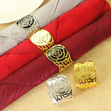 5PCS new napkin buckle gold and silver peony ring Hotel home decoration