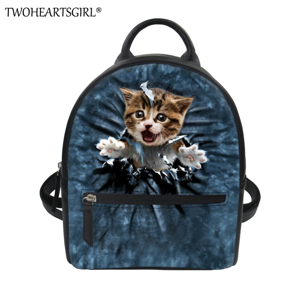 TWOHEARTSGIRL Funny 3d Animal Cat Print Small Leather Backpack for Women Vintage Travel Back Pack Daypack for Teenagers Girls