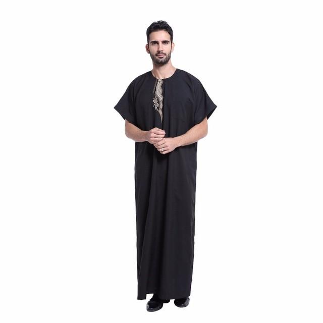 Homens Muçulmanos Vestuário Islâmico Saudita abaya Bordado plus size masculina dubai Kaftan mangas curtas roupas Jubba