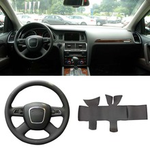 Ipoboo DIY Sewing-on PU Leather Steering Wheel Cover Exact Fit For Audi Q5 2008-2012 Q7 2005-2011 A4 B7 B8 A6 C6 2004-2011 цена