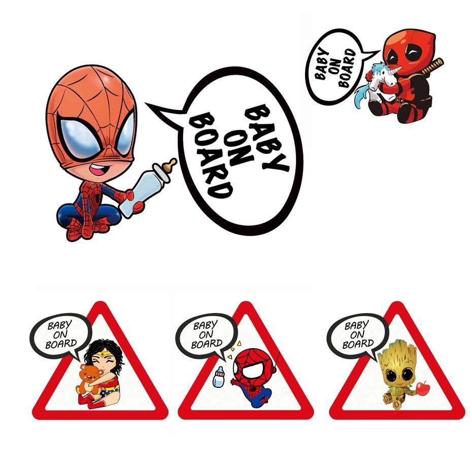Superheroes Baby On Board Reflective Car Stickers And Decals Funny Decoration For Volkswagen Skoda Honda Kia Lada Golf