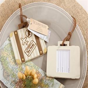 (100pcs/Lot)FREE SHIPPING+Let the Journey Begin Vintage Suitcase Luggage Tag Destination Wedding Favors&Bridal Shower Gift