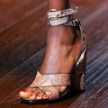 Snakeskin Ankle Wrap Straps Sandals For Women Round High Heel Sandal Ladies Shoes Sandal Open Toe 2015 High Heel Summer Shoes