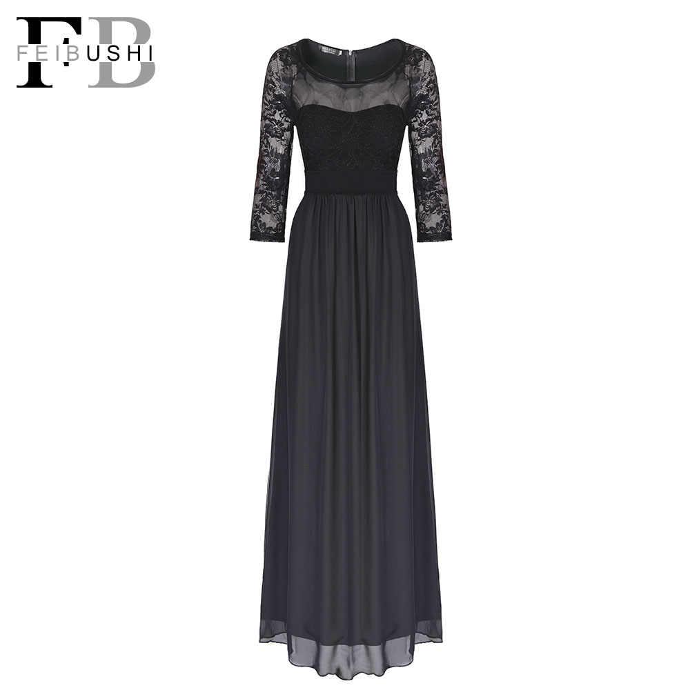 9ad7ea6e160c8 FEIBUSHI Lace Chiffon Long Dresses for Woman 2017 Elegant O Neck Black  Chiffon Maxi Evening Party Dresses Plus Size 3545