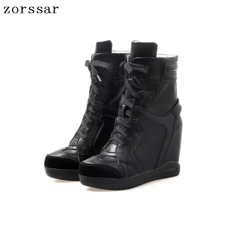 {Zorssar} Fashion sneakers womens boots Genuine Leather height increasing boots women high heel ankle boots Platform wedge shoes френч пресс vitesse vs 2622 в ассортименте