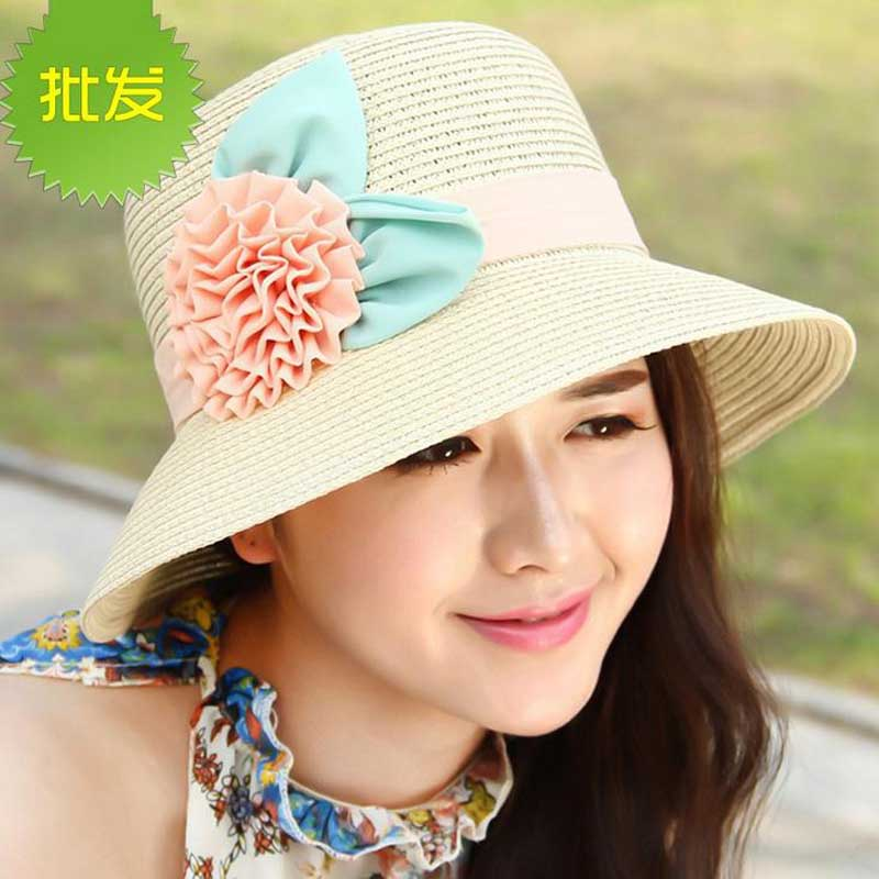dc5b42c3 2016 Korean Spring summer Sweet sun flowers Women straw hat lady's Beach  Hats foldable girls Fisherman caps sun hat-in Sun Hats from Men's Clothing  ...